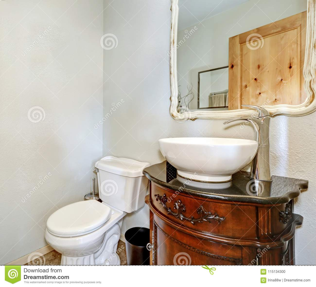 White Half Bath Includes Vintage Vanity Cabinet Stock Photo Image Of Project Real 115134300