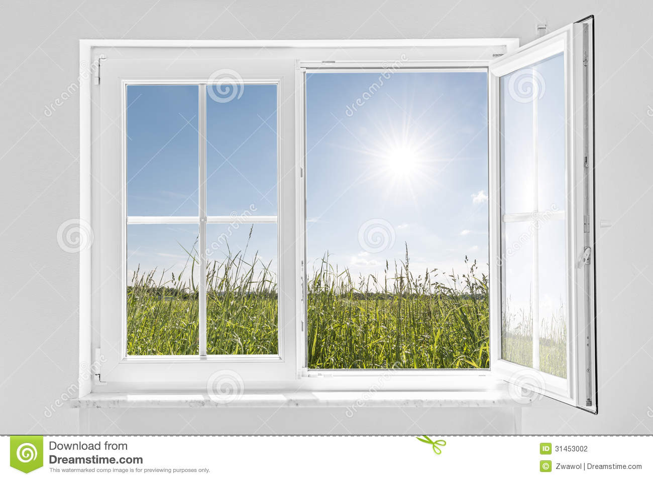 ... half open window indoor and outside green meadow with sun and blue sky