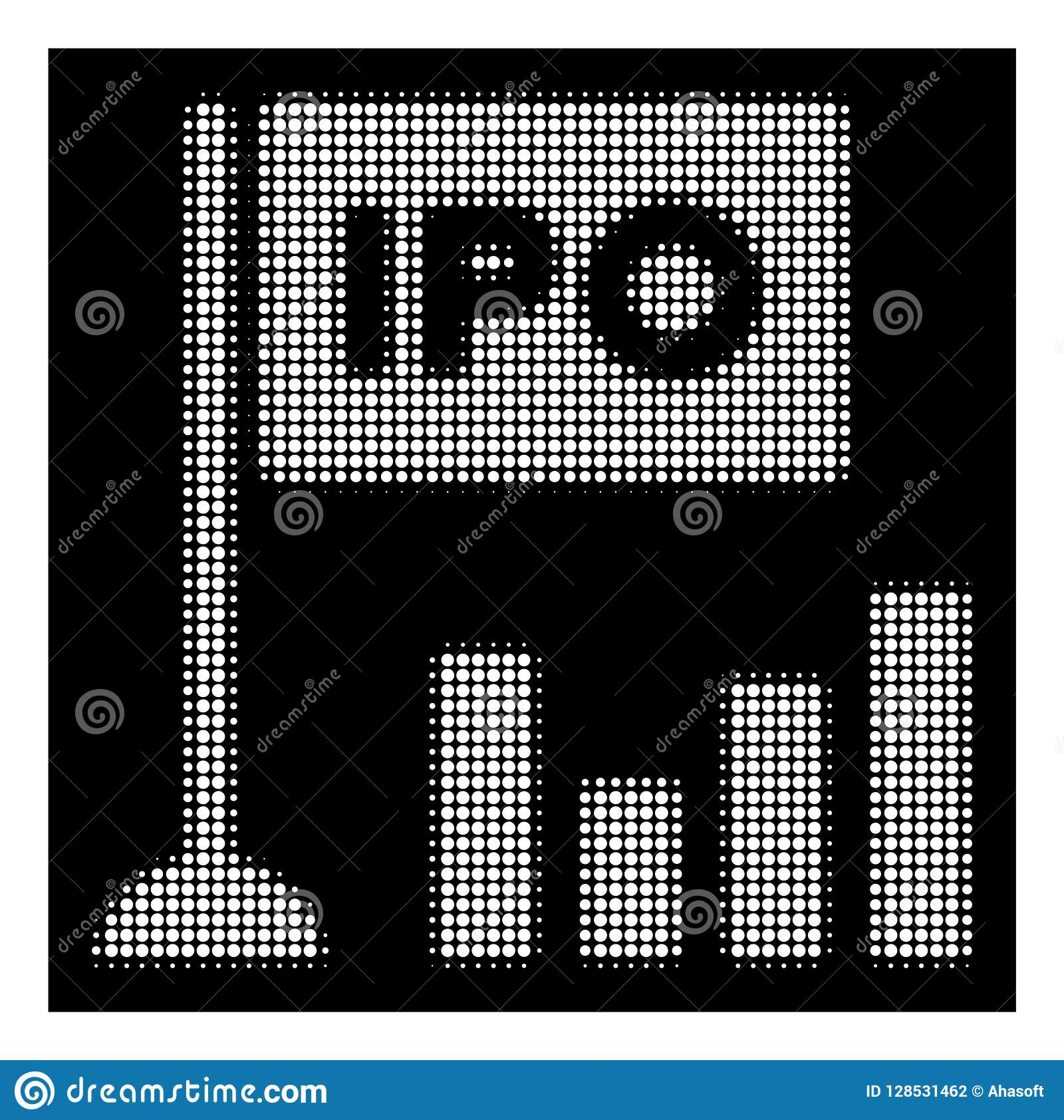 White Halftone Ipo Bar Chart Icon Stock Vector