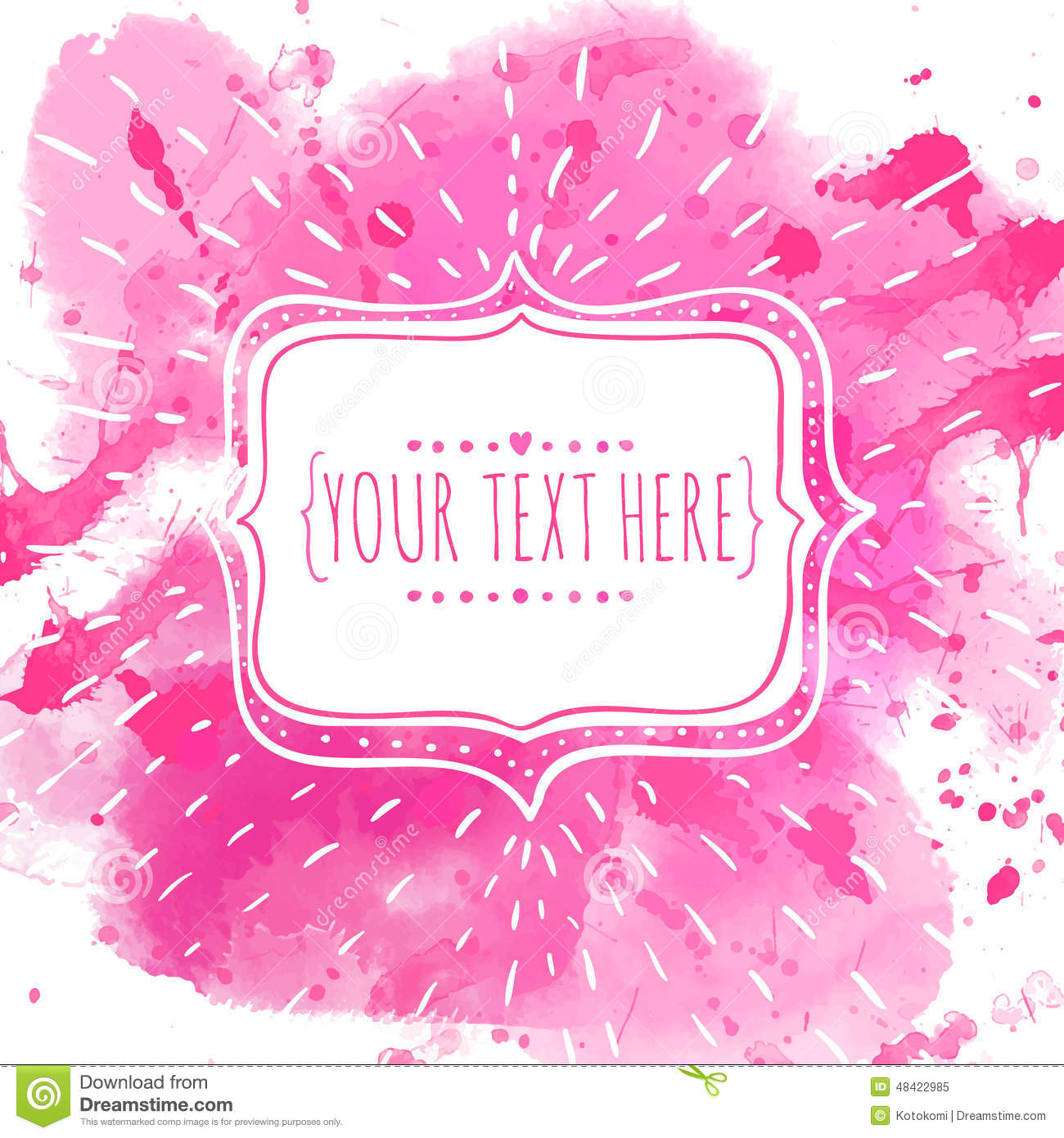 Download White Hand Drawn Frame With Doodle Bird. Pink Watercolor Splash  Background. Artistic Design