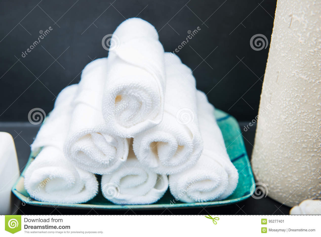 White hand towels in bathroom
