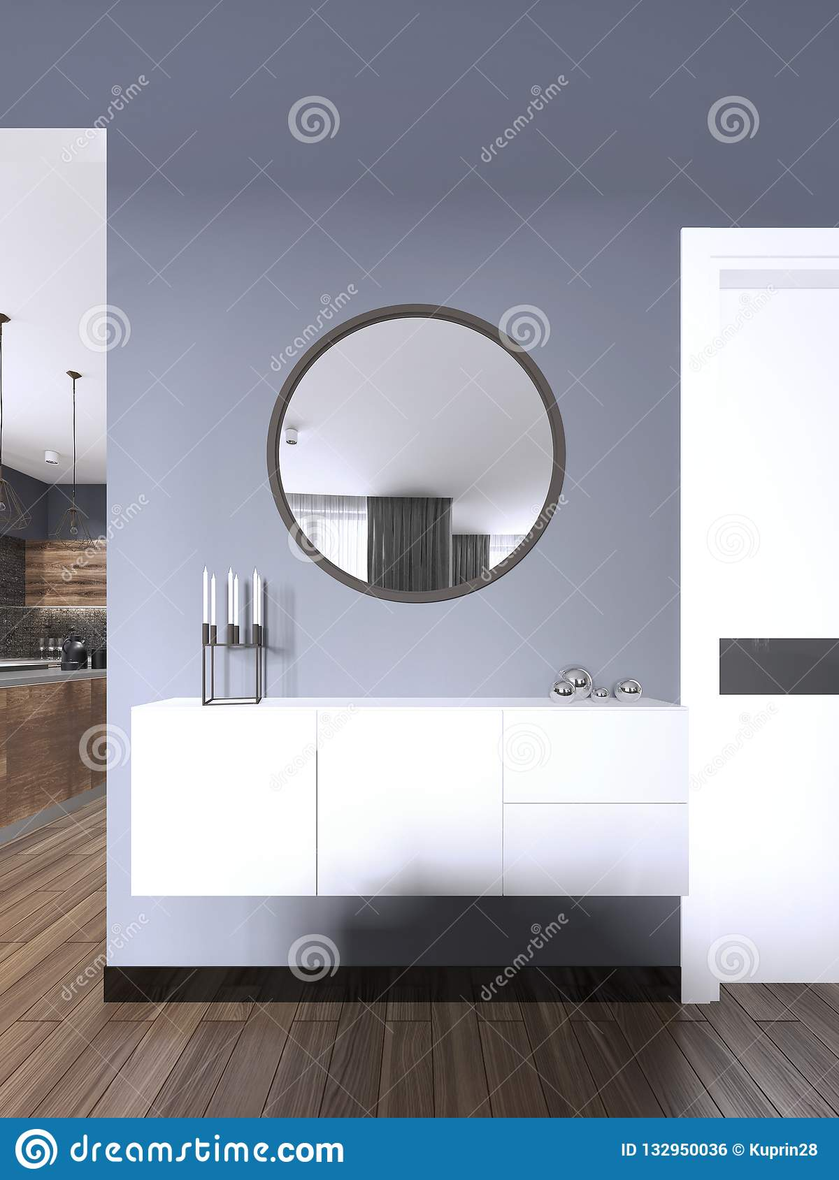 White Hanging Console With A Mirror In The Living Room ...