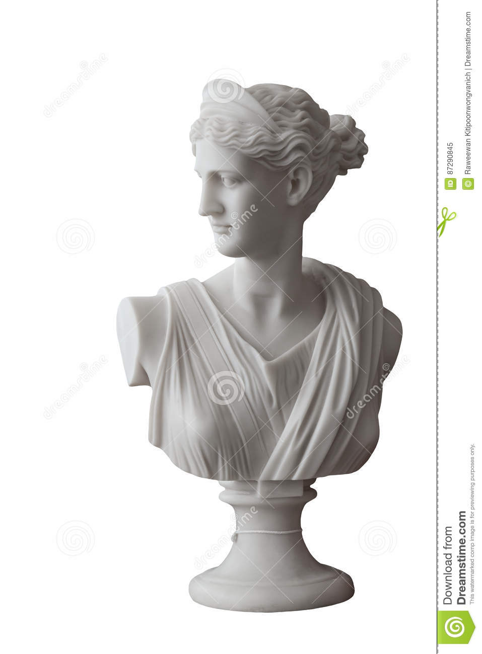 White head marble statue of roman Ceres or greek Demeter