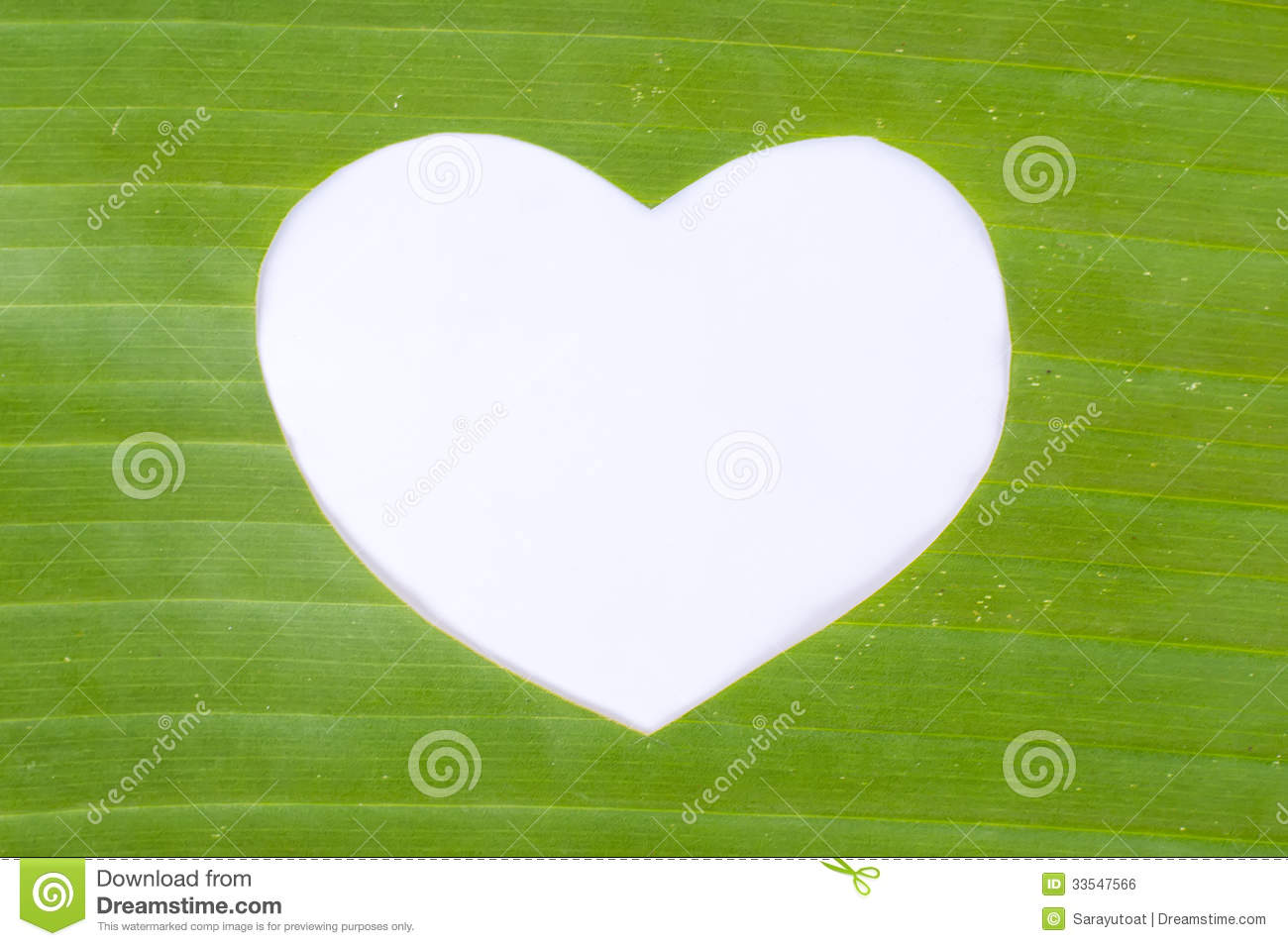 White heart in green banana leaf