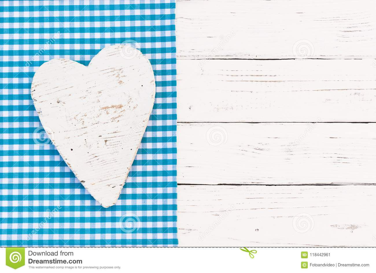Baby Shower Greeting Card Background With Heart And Blue Checked
