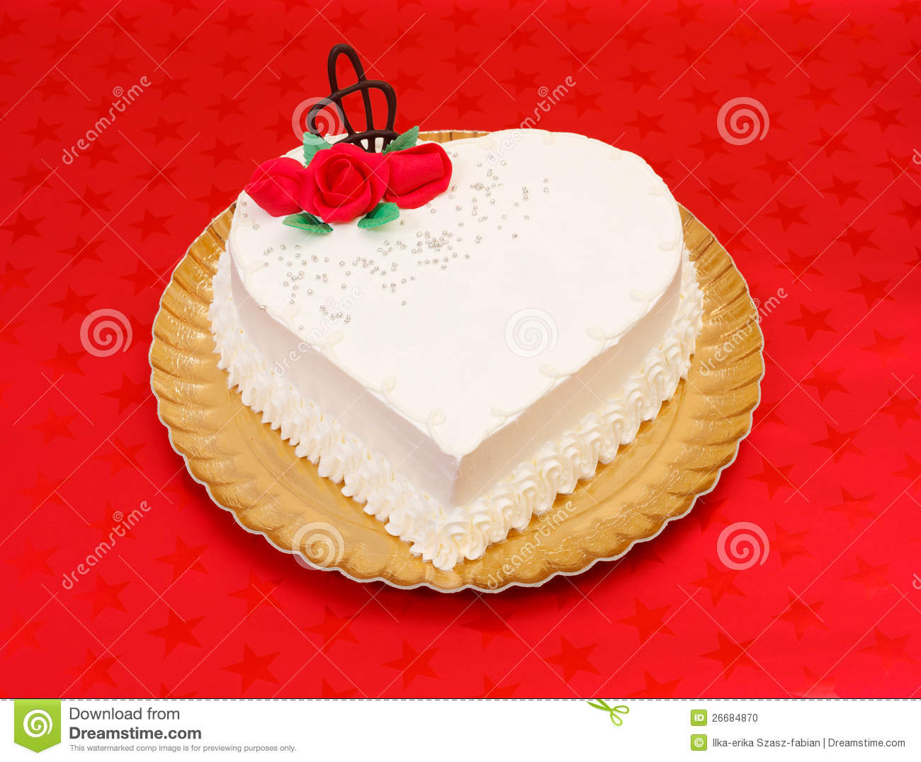 Heart Shaped Cake Stock Photos : White Heart Shape Cake Stock Photo - Image: 26684870