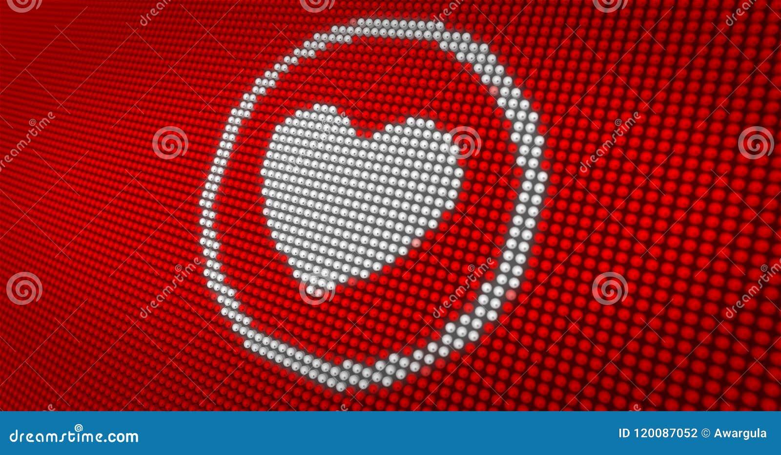 Beating White Heart On Big Led Display Stock Illustration