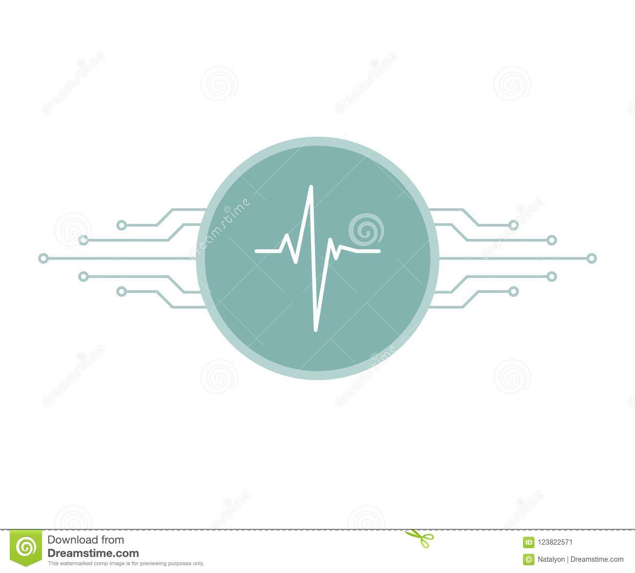 Incredible White Heartbeat Pulse On Blue Circle With Printed Circuit Board Wiring 101 Swasaxxcnl