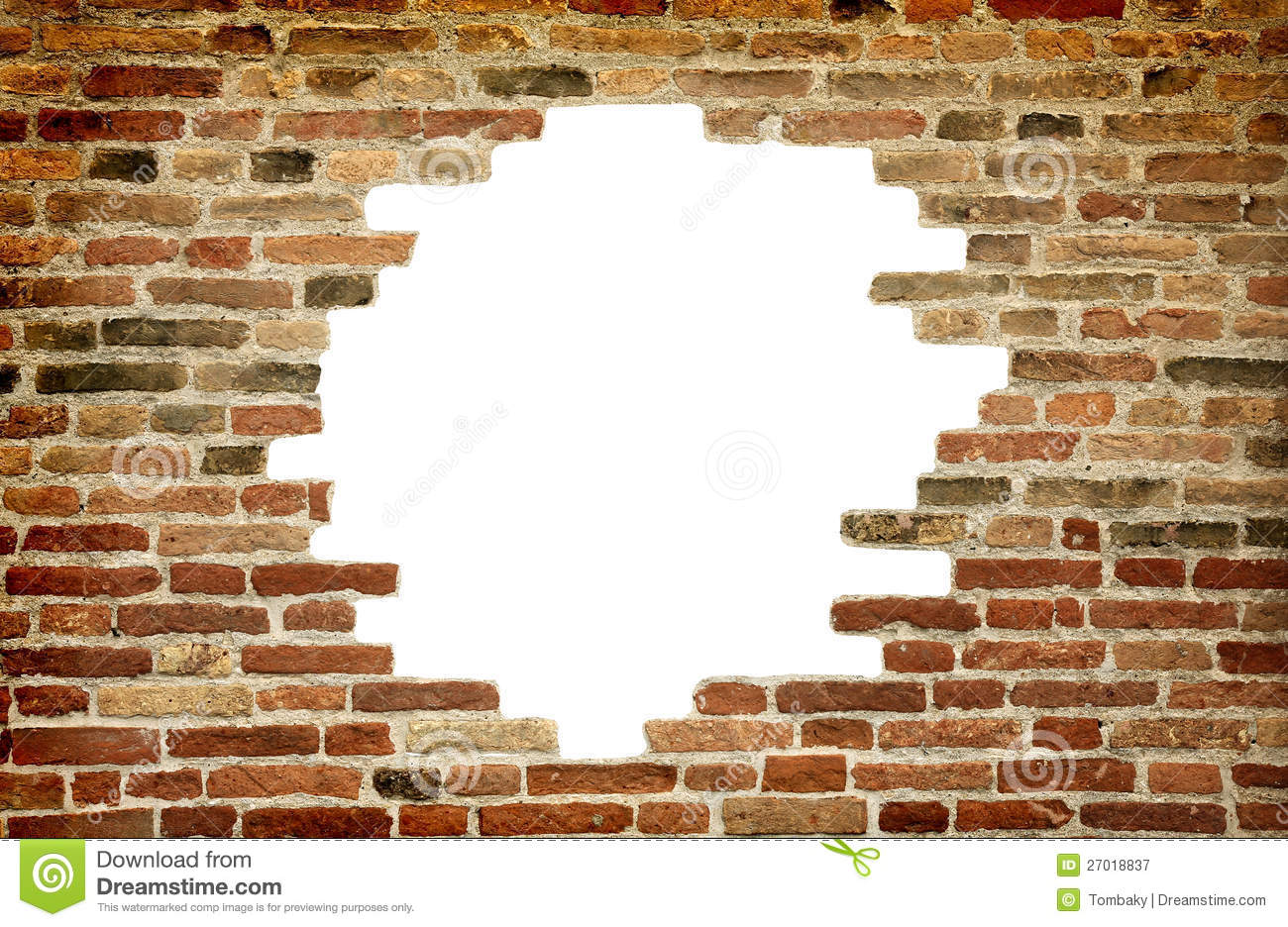 White Hole In Old Wall, Brick Frame Stock Image - Image of ...