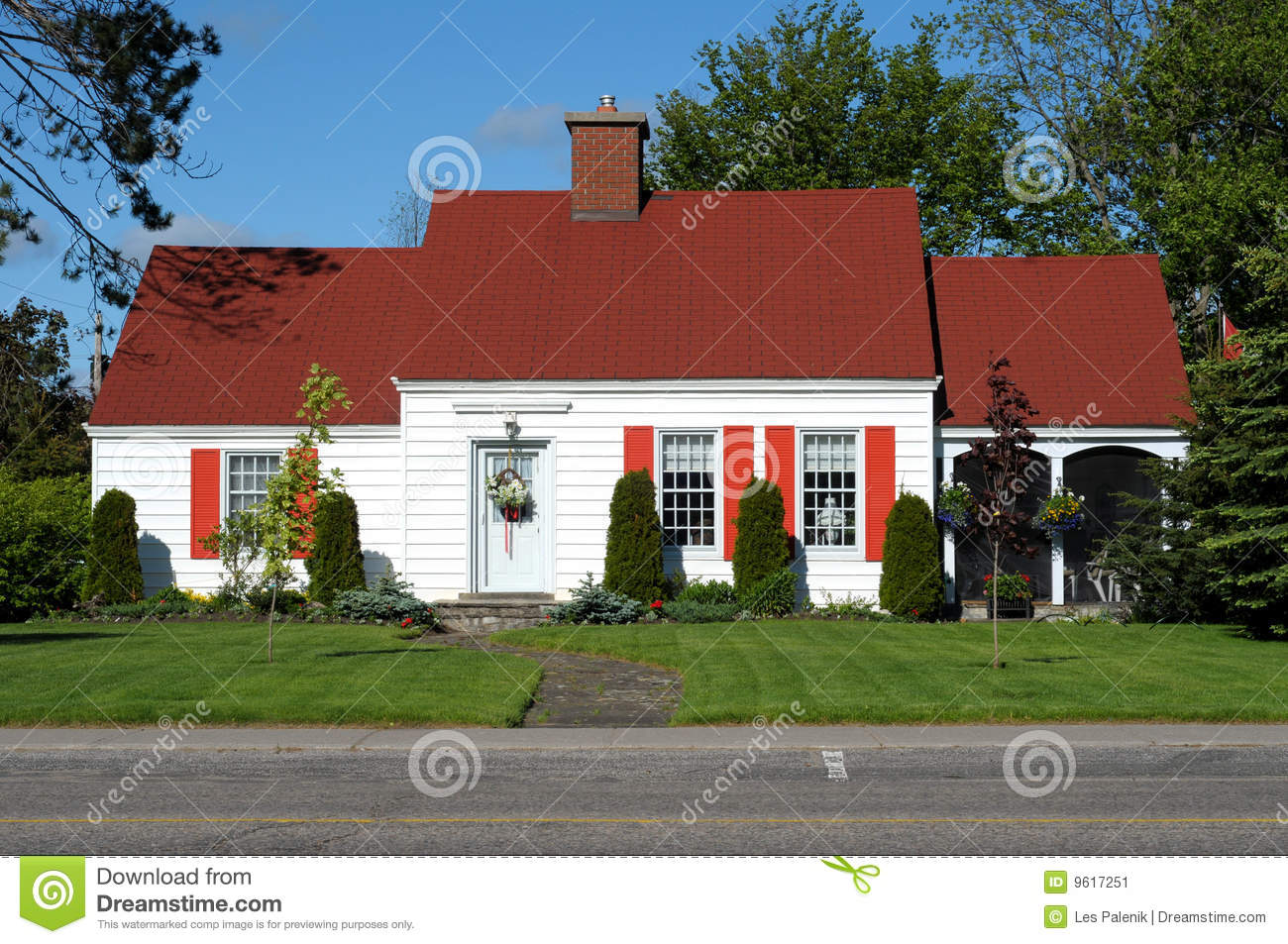 White Home With Red Roof Stock Image Image Of Home