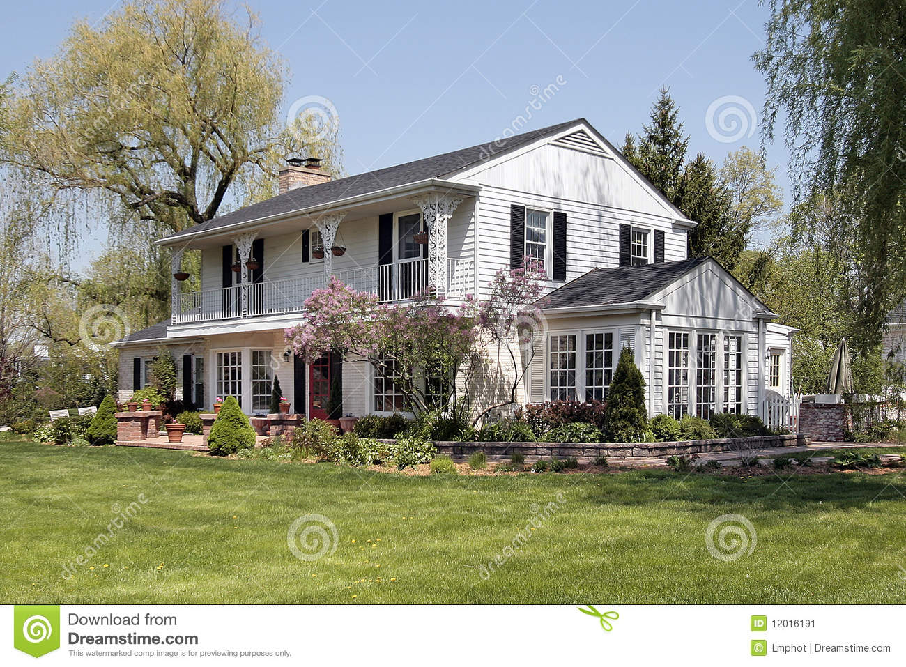White Home With Second Floor Balcony Stock Image Image