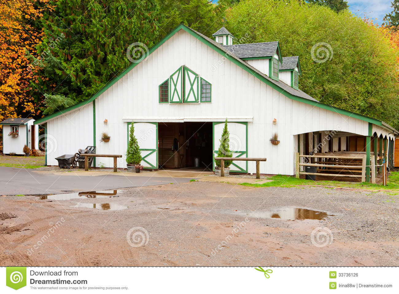 Nice horse barn plans and prices 6 white horse barn wuth for Horse barn prices