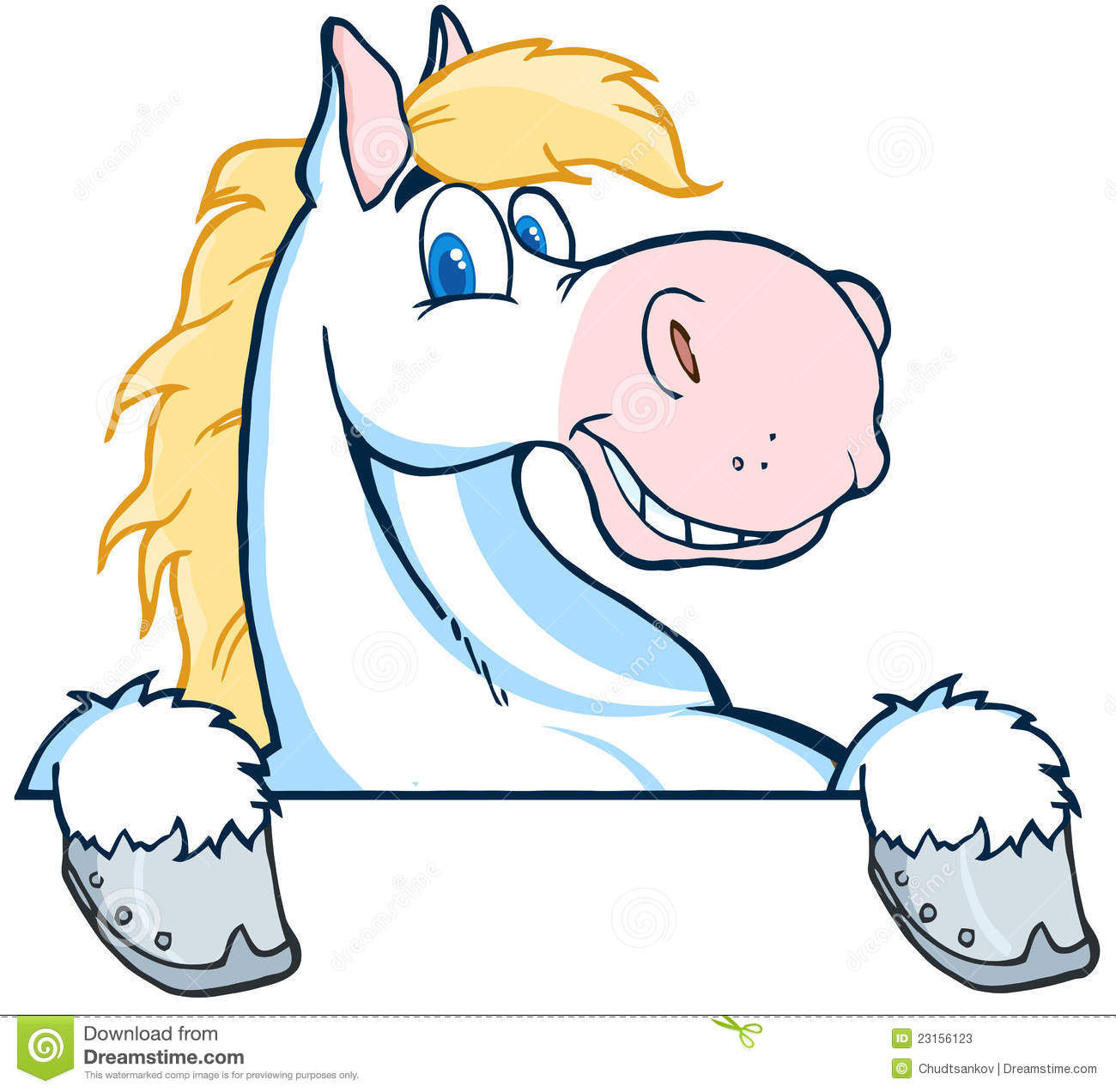 White horse mascot cartoon head stock vector image