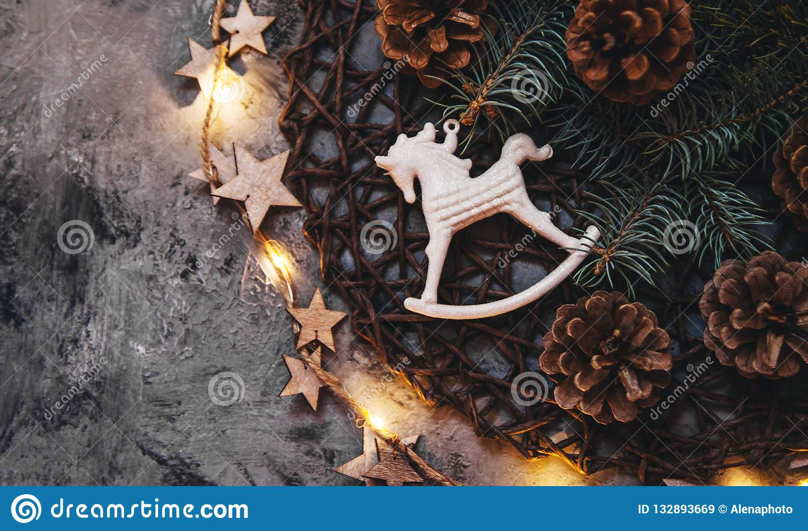 White Horse Toy With Christmas Decorations Stock Image Image Of Gift Decor 132893669