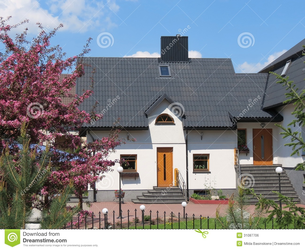 White house royalty free stock image image 31087706 for Black roof house