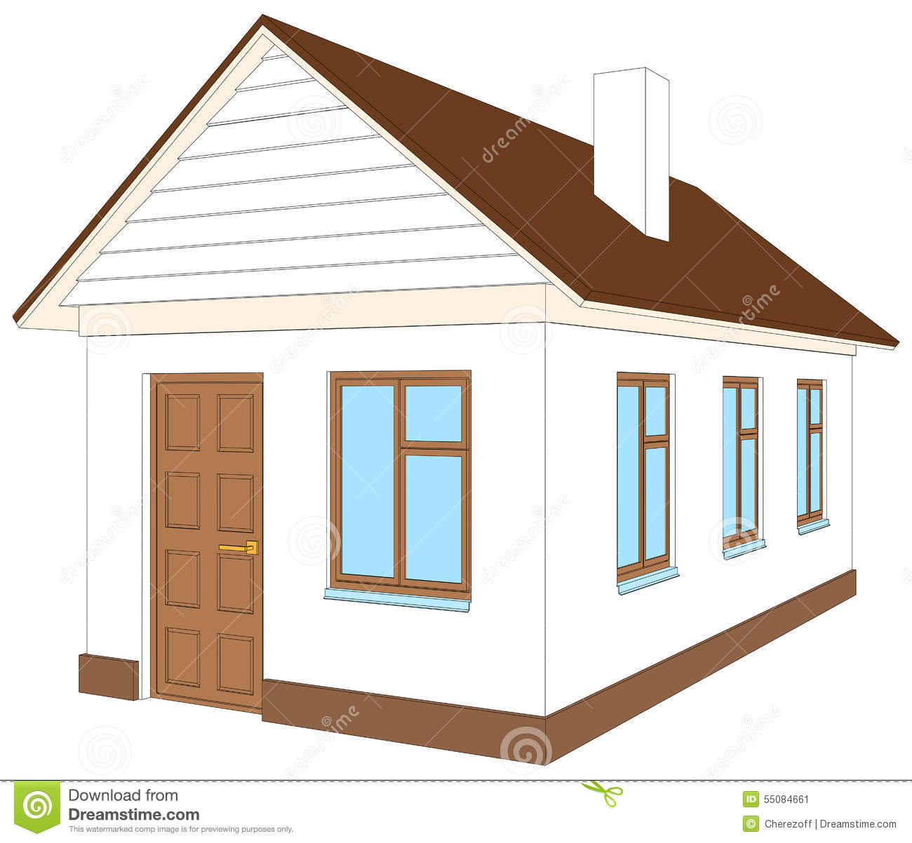White House With Brown Door Vector Illustration Stock