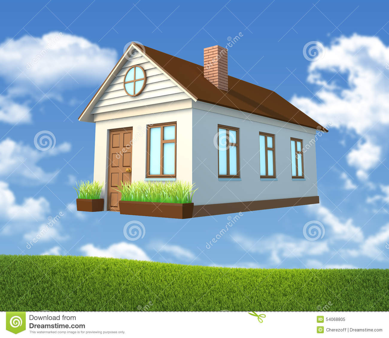 White House With Brown Roof Stock Photo Image 54068805