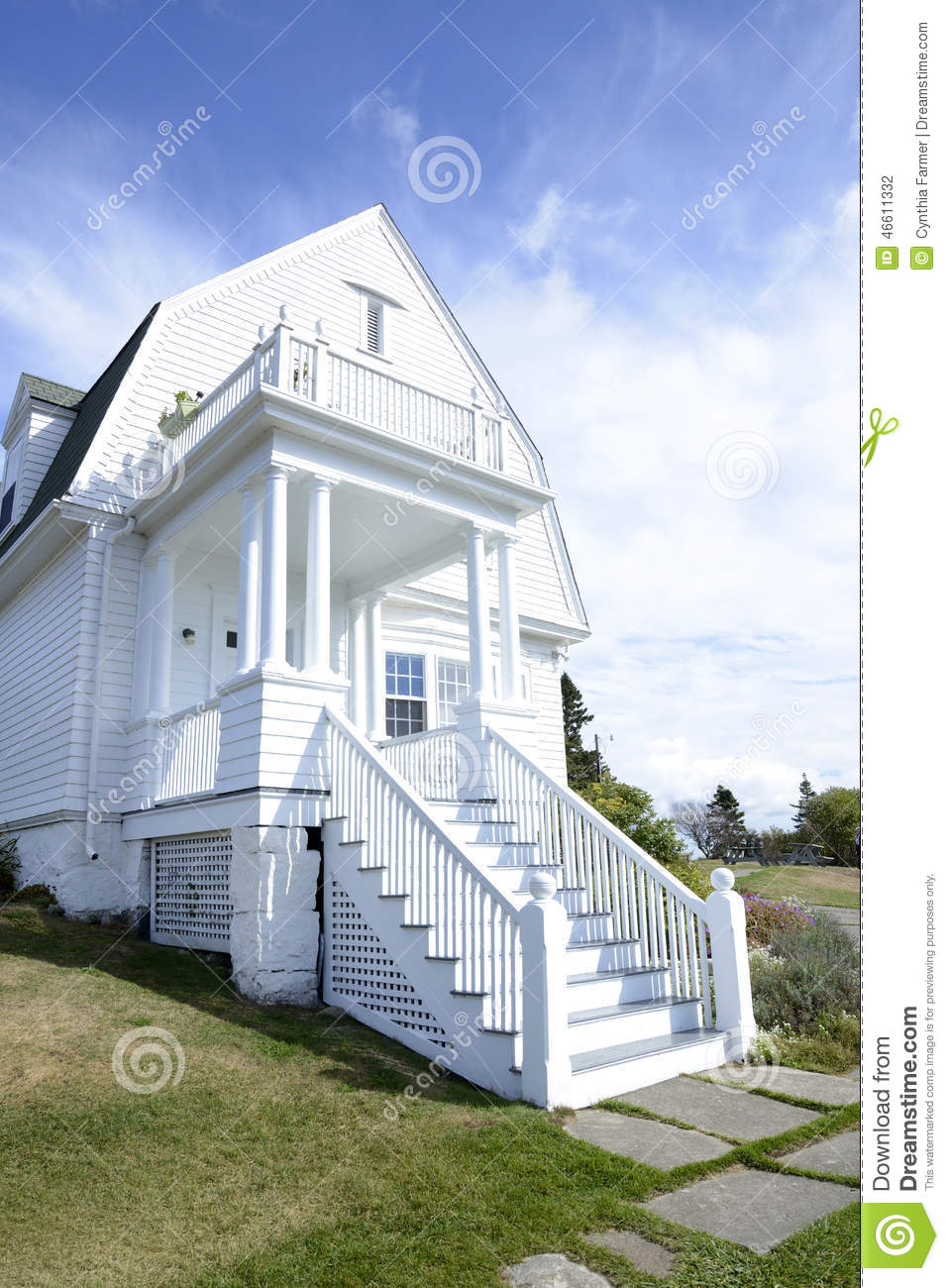 White House On The Coast Of Maine Stock Photo Image