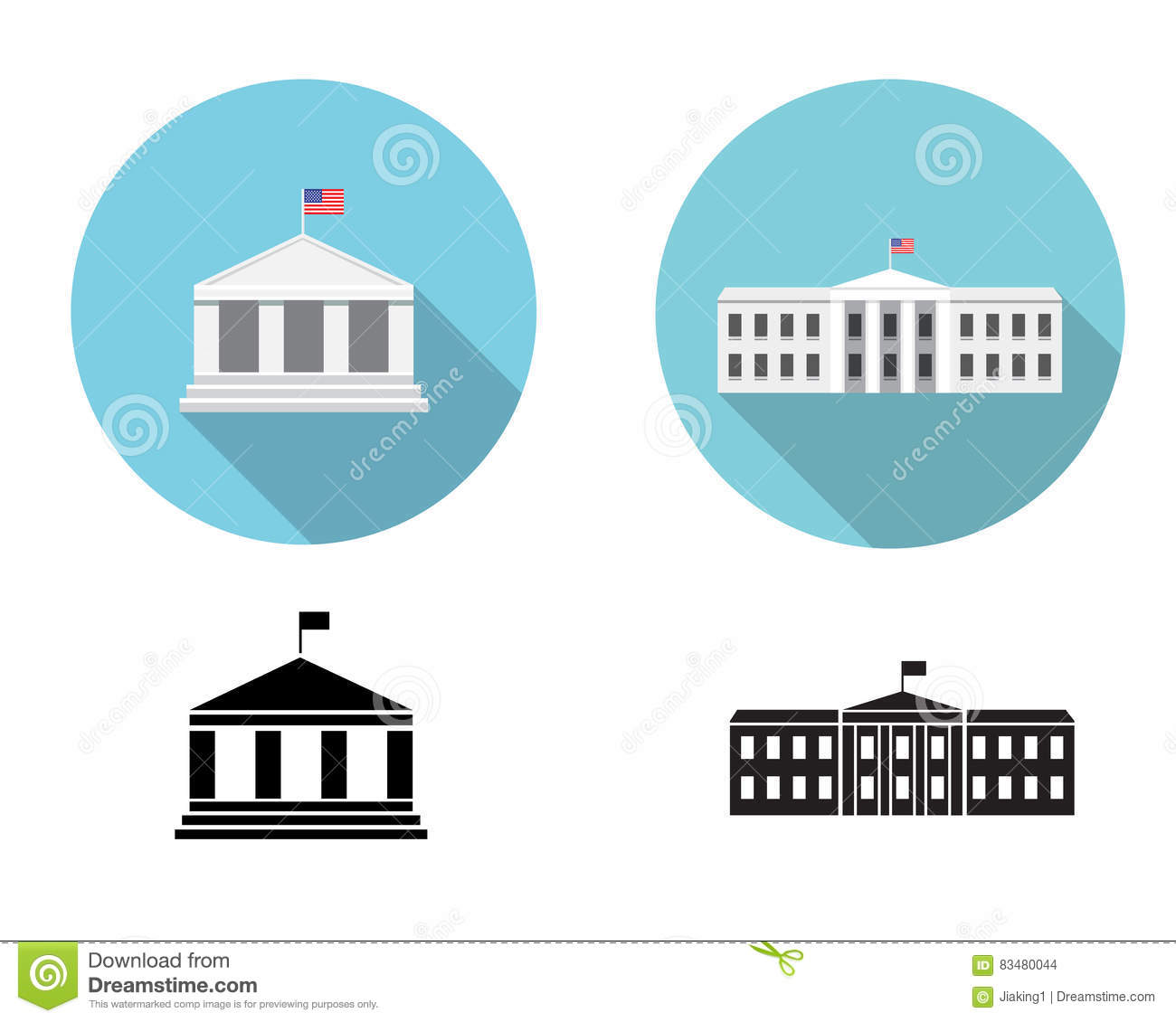 white house icons in flat and silhouette style stock vector