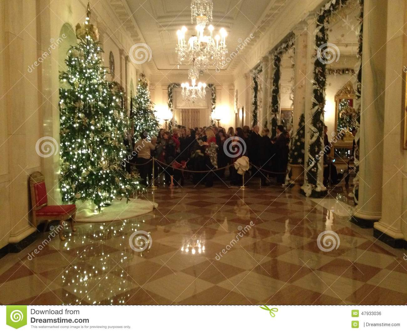download white house main hall decorated for christmas editorial photo image of first floor - Christmas Hall Decorations