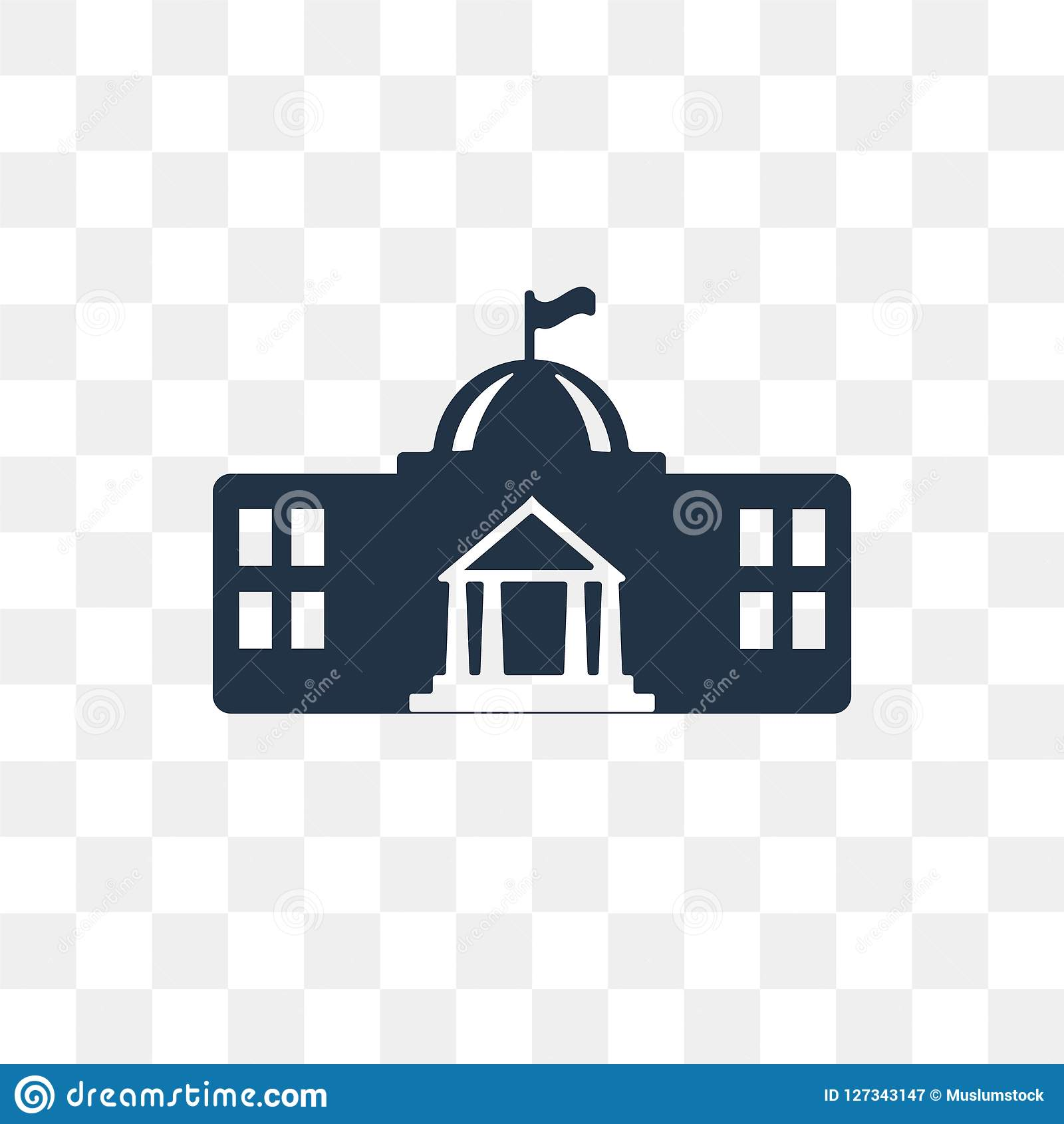 White house vector icon isolated on transparent background, Whit