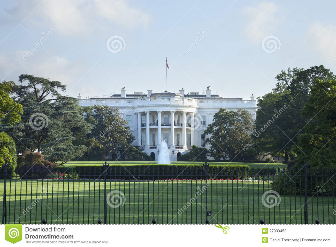 The White House in Washington DC viewed from the south side.
