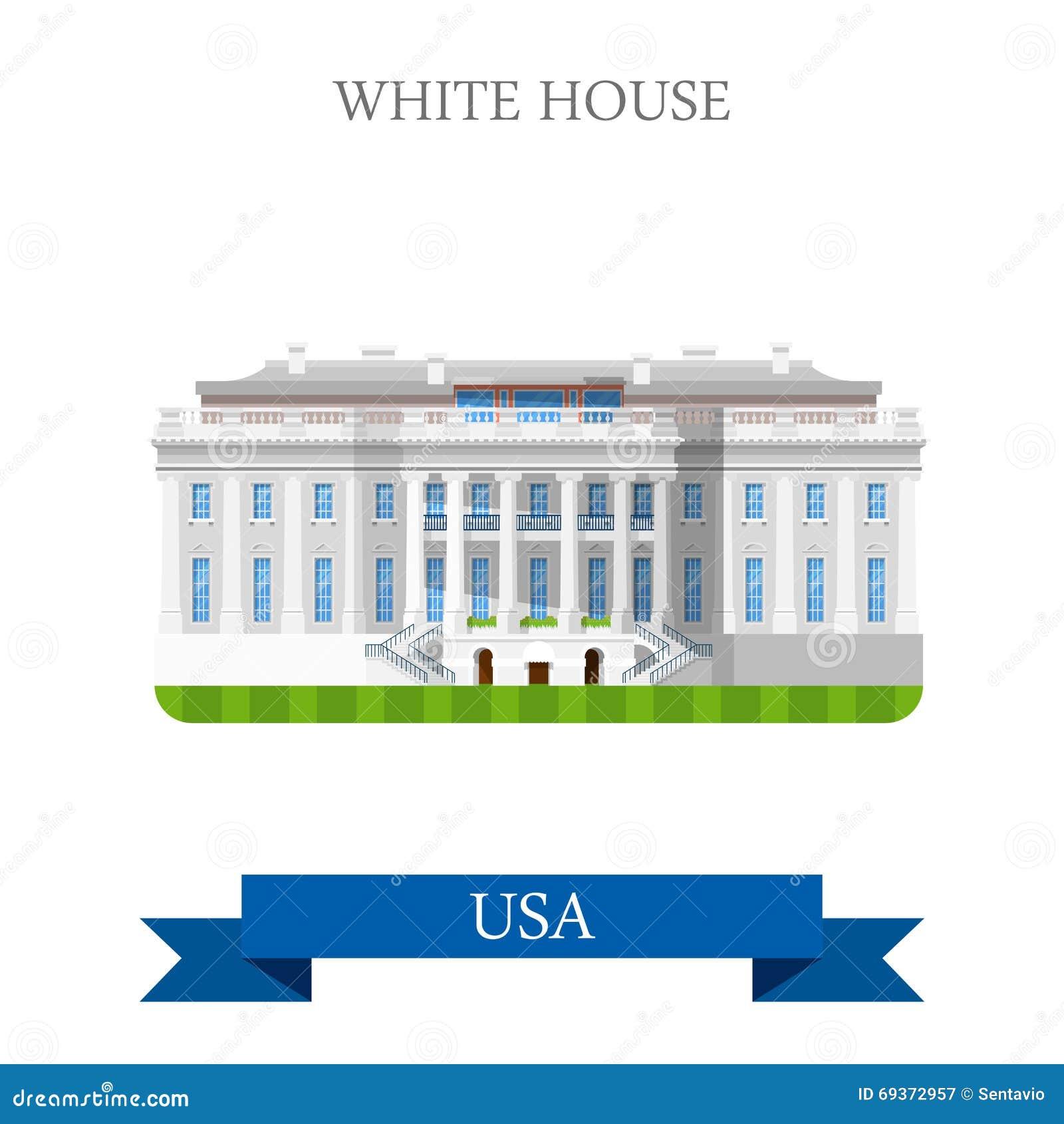 the white house washington dc united states usa vector flat stock rh dreamstime com