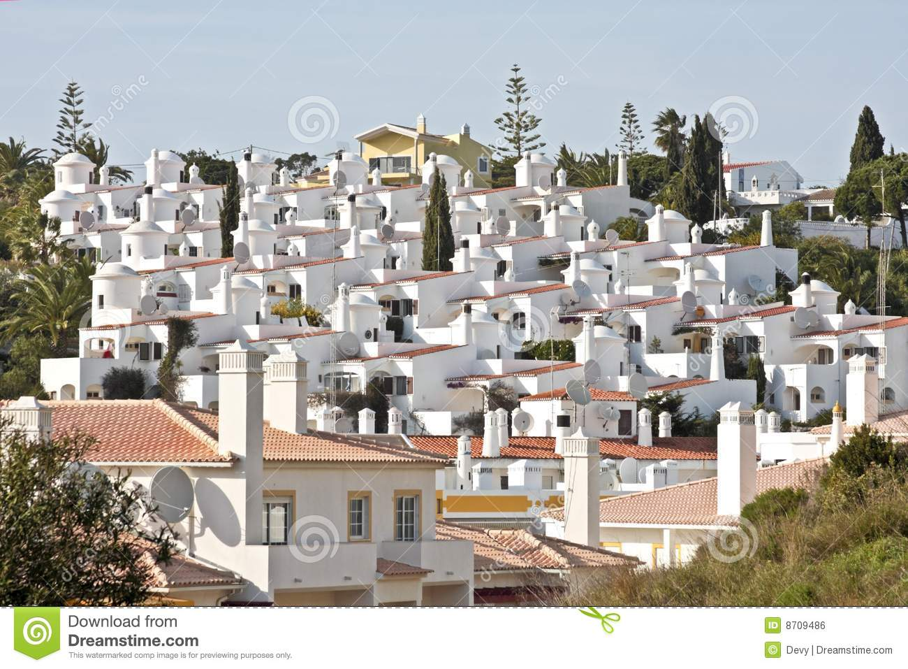 White Houses In Carvoeiro Portugal Royalty Free Stock
