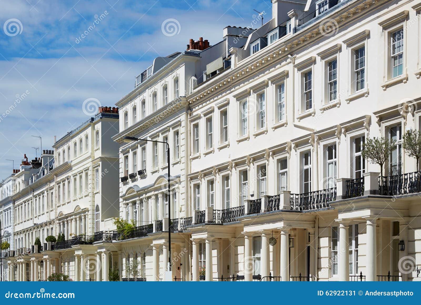 White Houses Facades In London, English Architecture Stock Photo ...