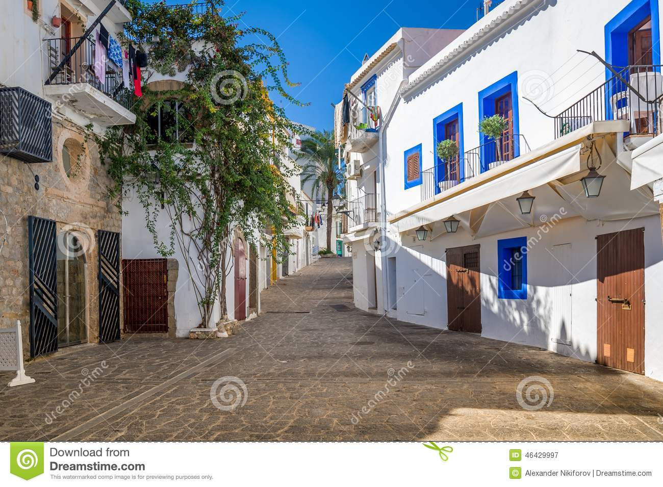white houses at ibiza street stock photo