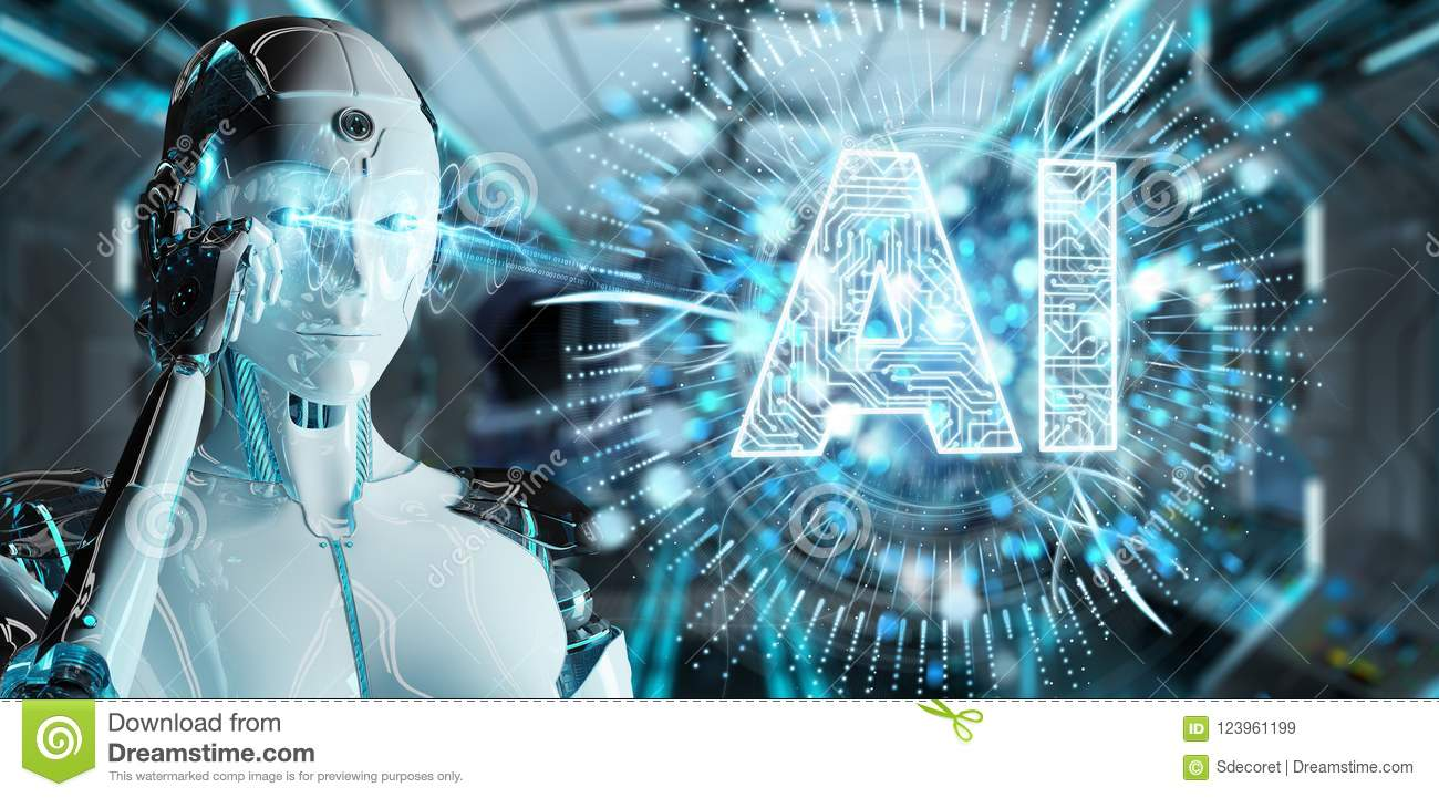White humanoid woman using digital artificial intelligence icon