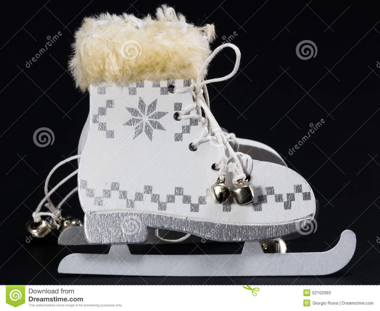 White Ice Skate Christmas Decoration Stock Image - Image of craft ...