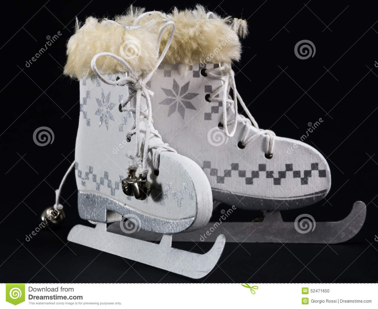 download white ice skate christmas decoration stock photo image of decorative background 52471650