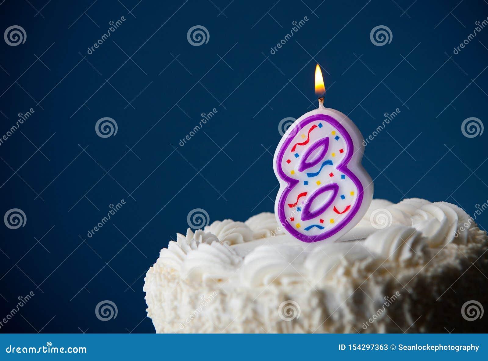 Sensational Cake Birthday Cake With Candles For 8Th Birthday Stock Image Personalised Birthday Cards Veneteletsinfo
