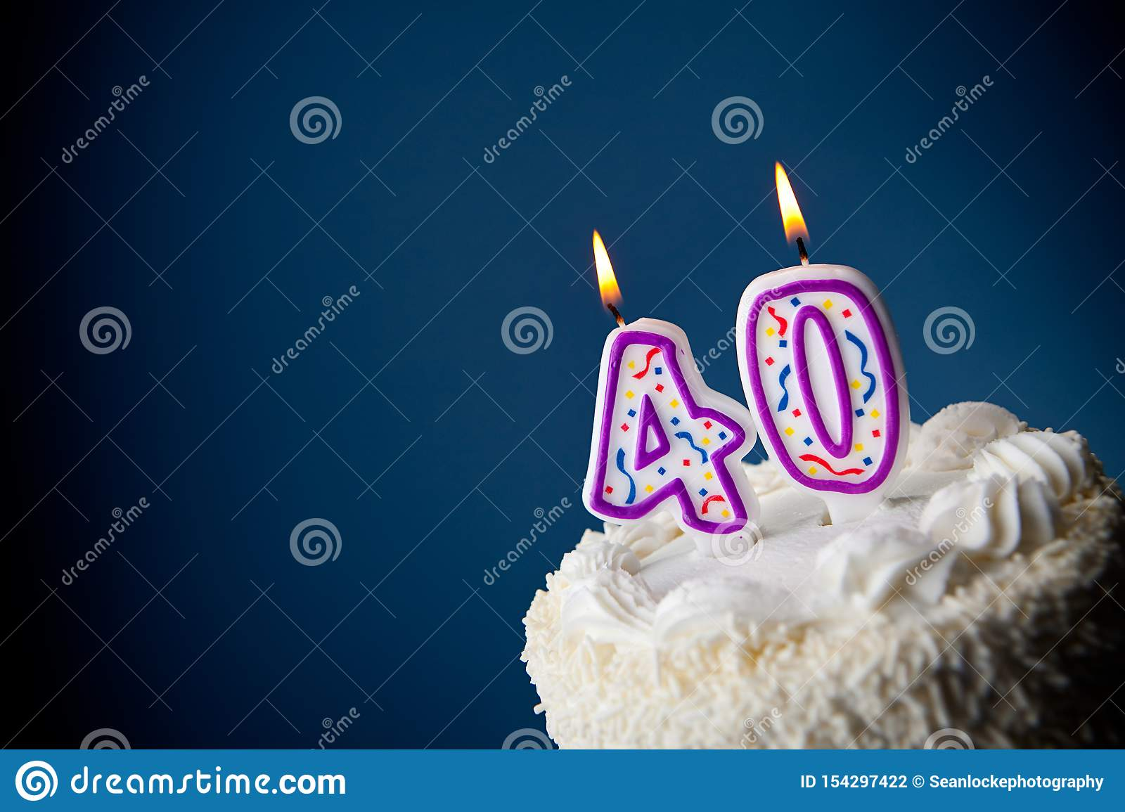 Swell Cake Birthday Cake With Candles For 40Th Birthday Stock Photo Personalised Birthday Cards Veneteletsinfo
