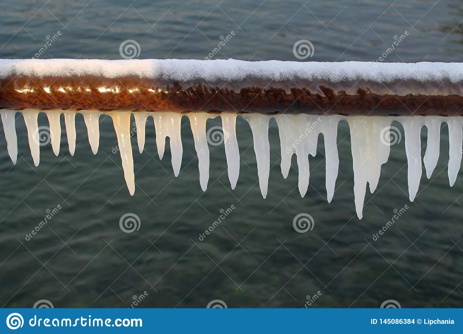 White icicles on a pipe