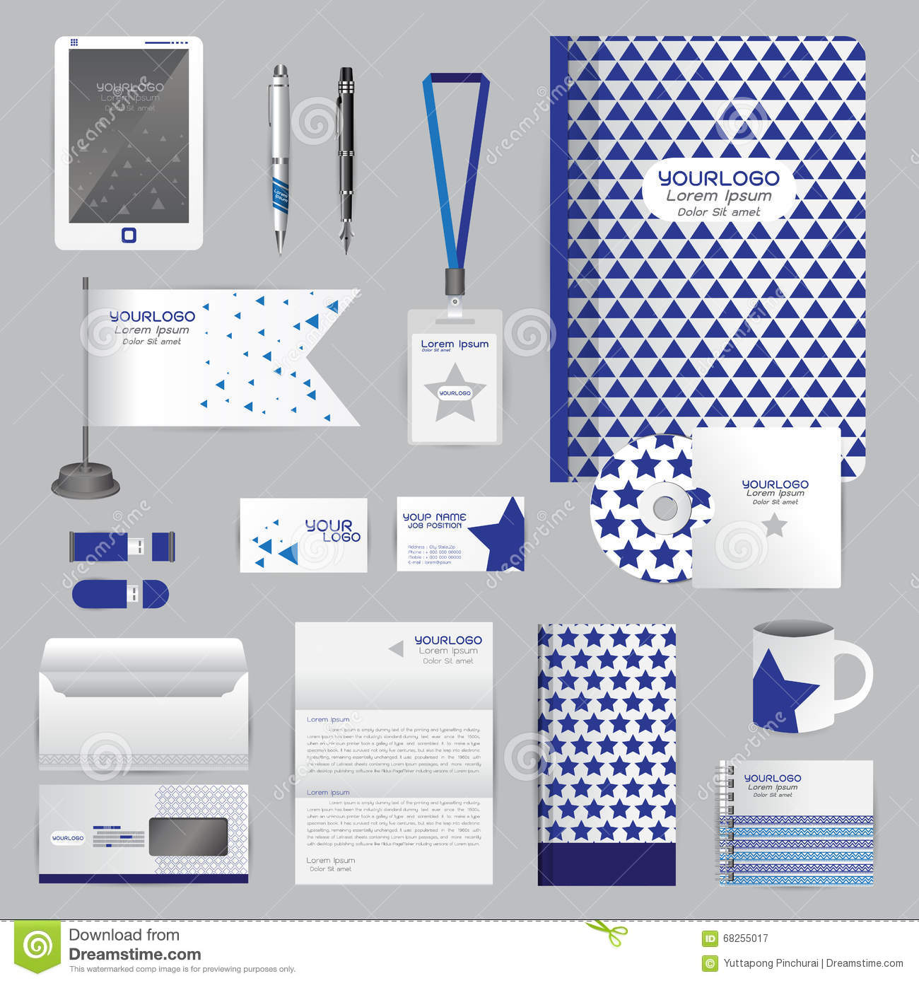 White Identity Template With Blue Origami Elements. Vector Compa ...