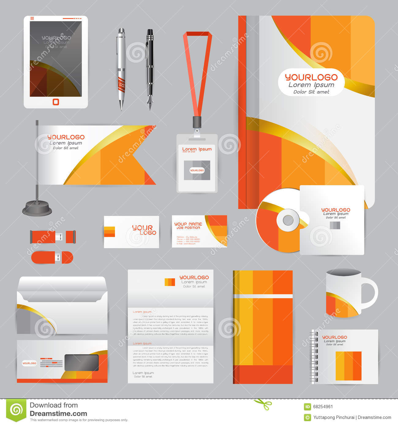 White Identity Template With Orange Origami Elements. Vector Com ...