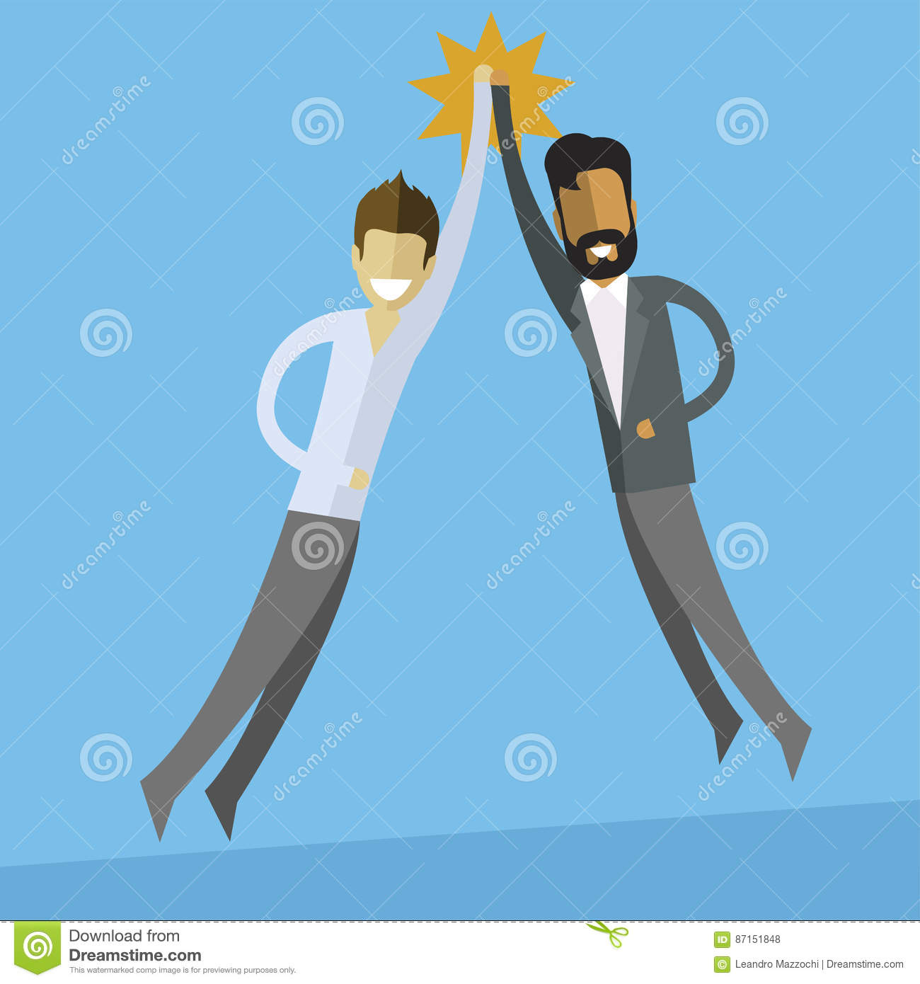 white and indian business men doing high five.