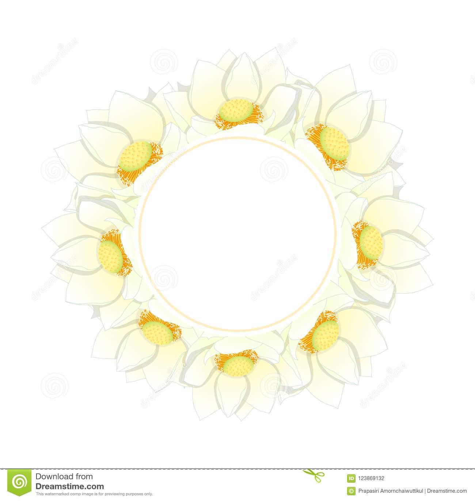 White Indian Lotus Banner Wreath Nelumbo Nuciferasacred Lotus