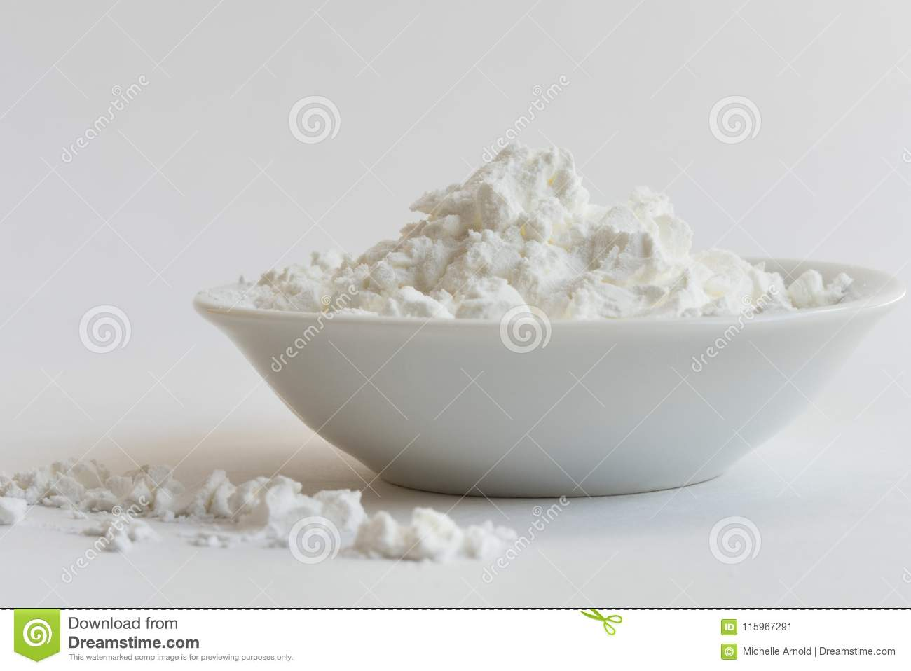 cornstarch heaped in a bowl stock image image of white ingredient