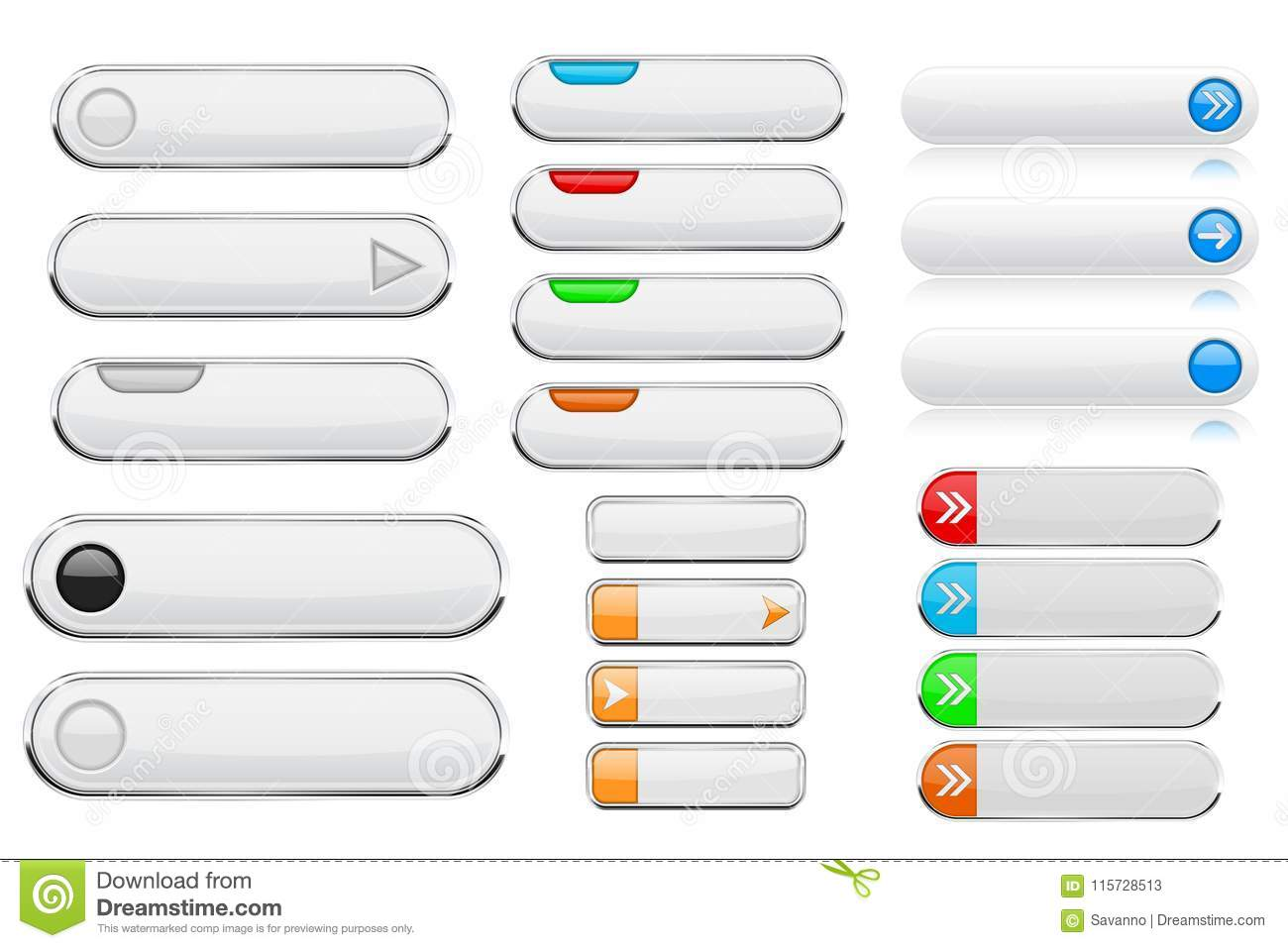 White Interface Menu Buttons  3d Shiny Icons With Colored