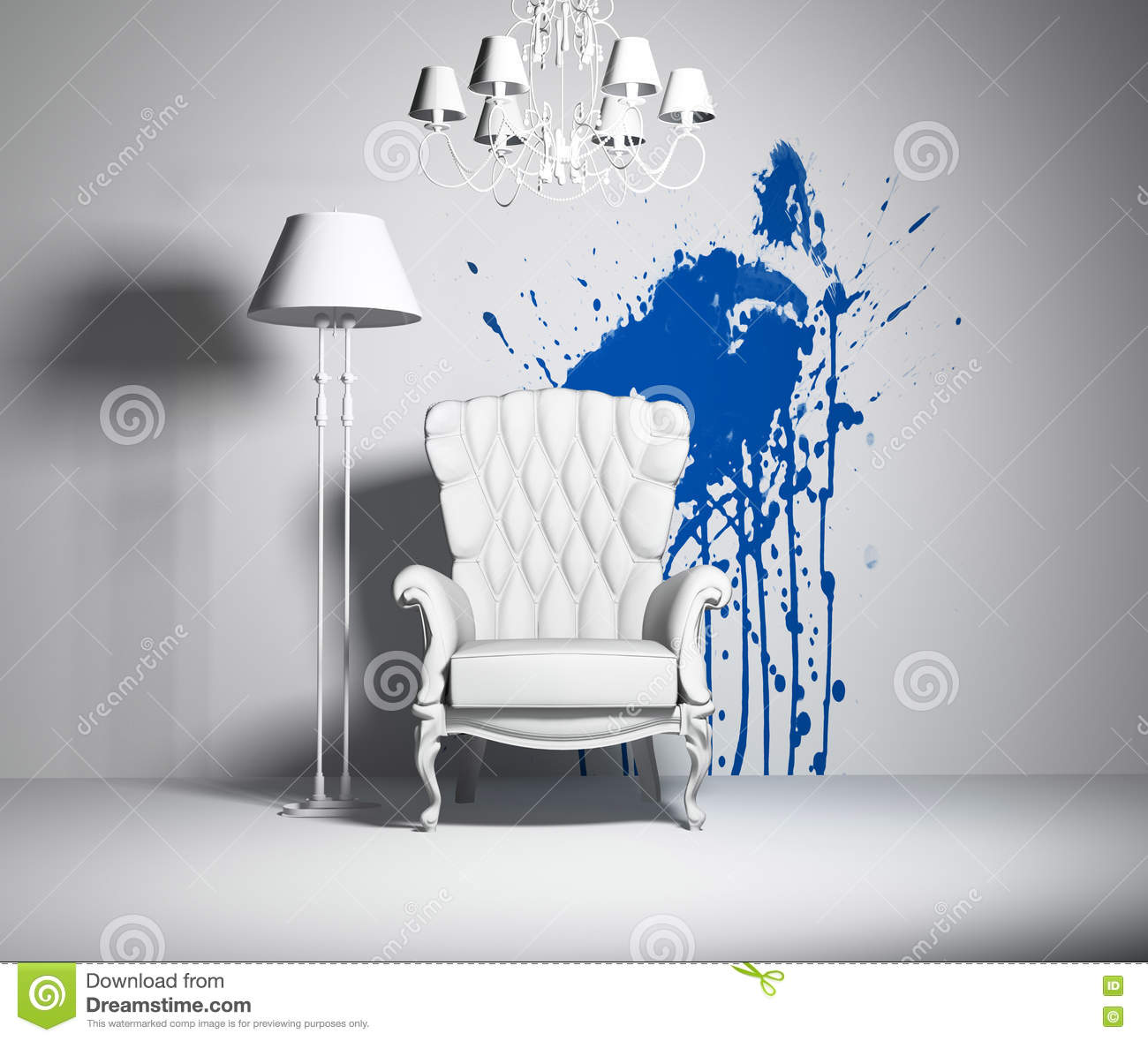 white interior royalty free stock photography image 35942687 armchair blot blue interior white