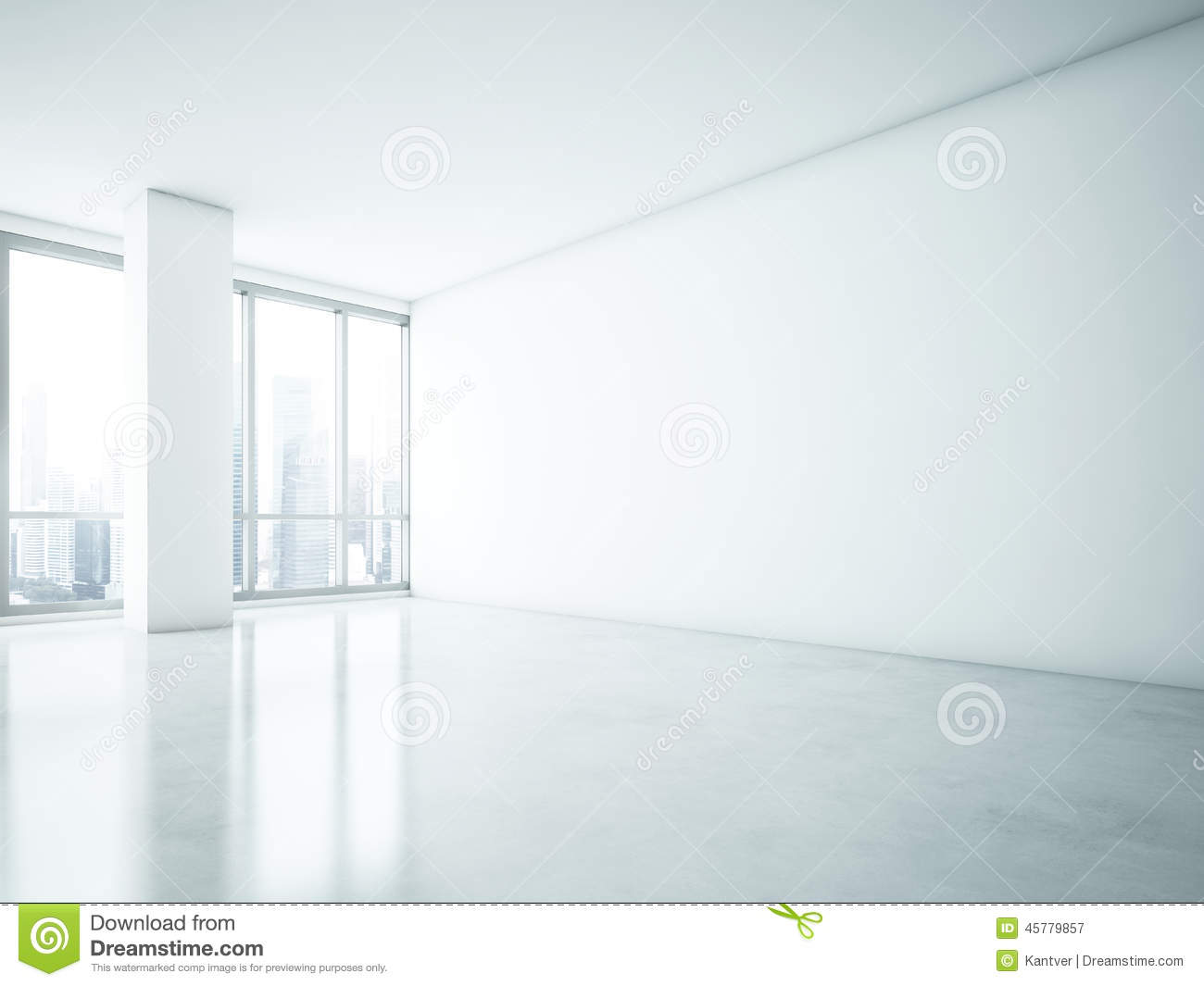 White Interior With Big Blank Wall Stock Photo Image