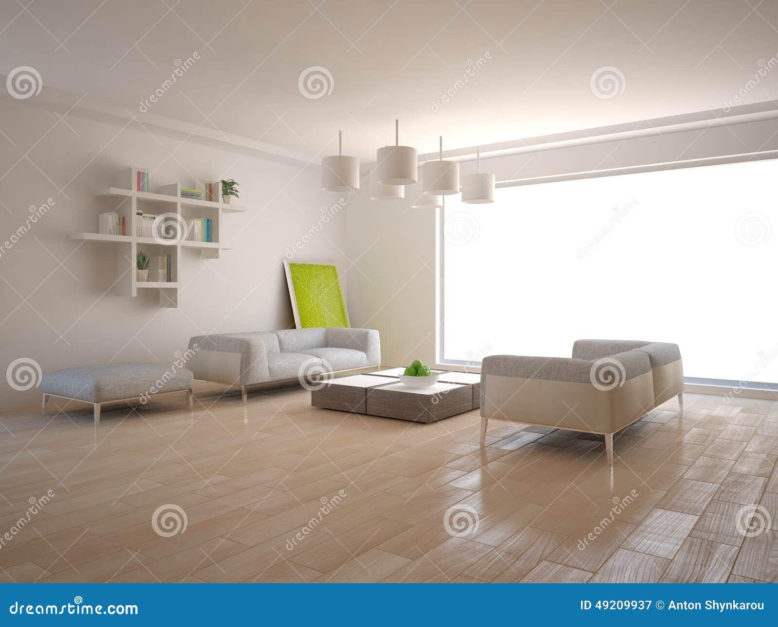 White interior concept for living room
