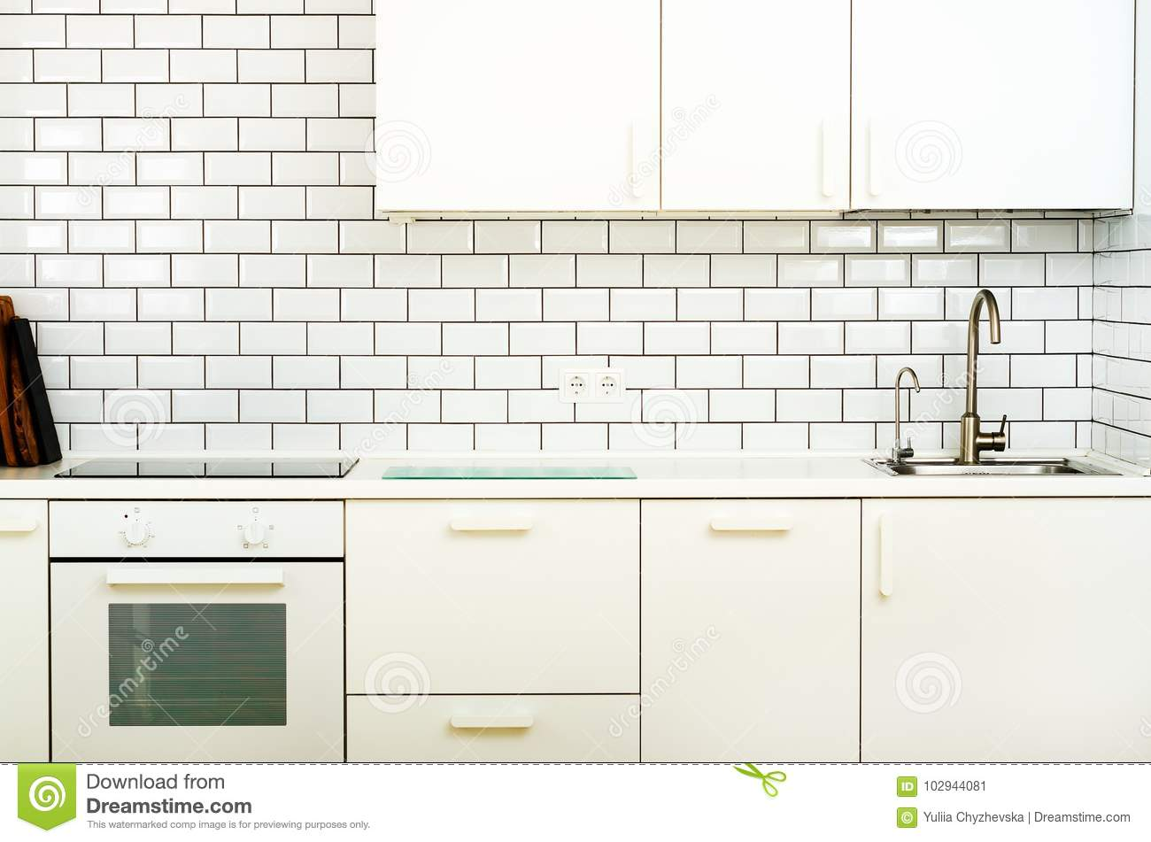 Download White Interior Design, Modern And Minimalist Style Kitchen With  Household Appliances. Open Space
