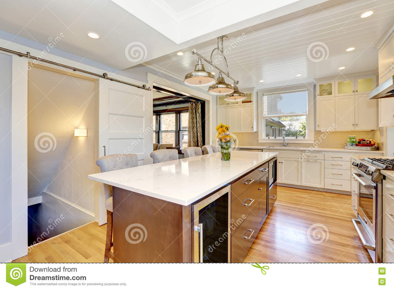 White Interior Of Kitchen Room With Large Kitchen Island Stock Image Image Of Modern Counter 76449457