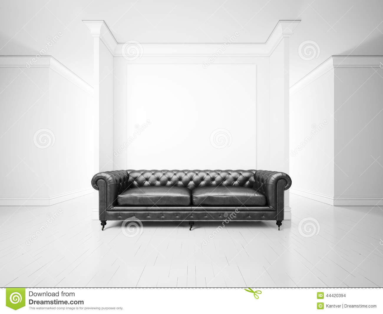 White Interior With Sofa And Banner Stock Photo