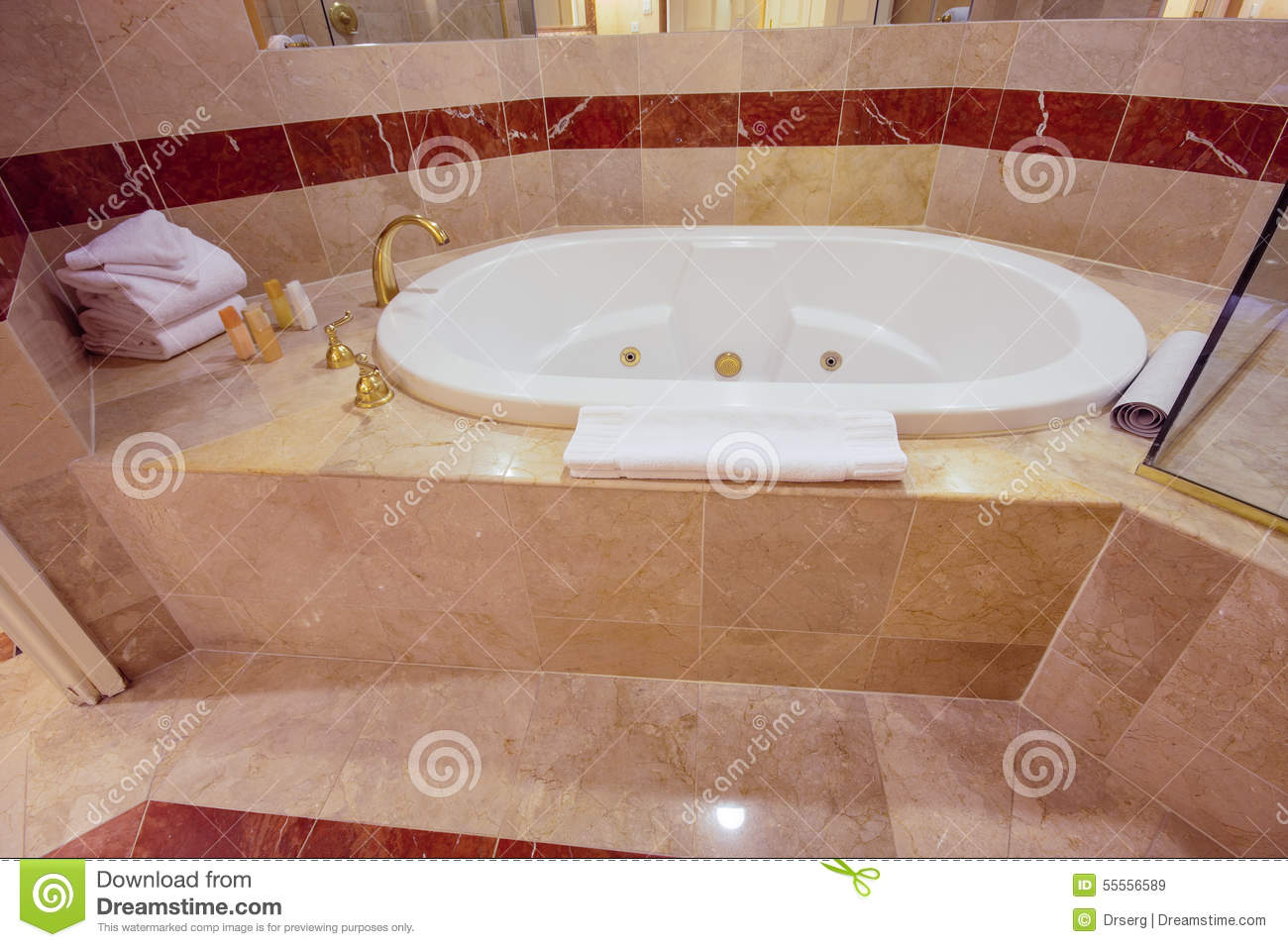White Jacuzzi Bathtub Decorated With Marble Tiles Stock Image ...