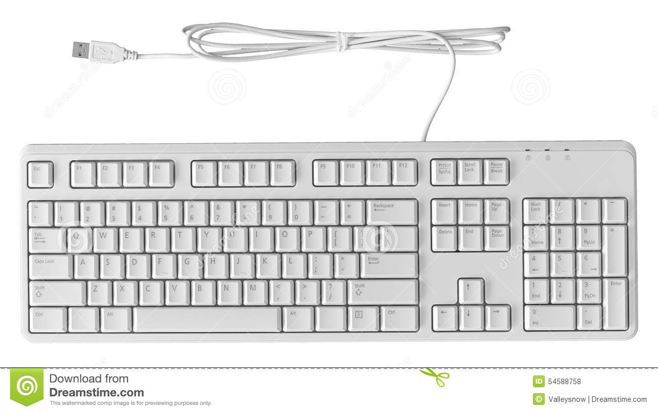 All new standard personal computer white keyboard isolate on white.